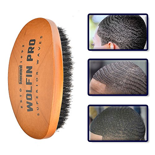 (Wolfin Pro- Premium Curved 360 Wave Brush, 100% Natural Schima Superba Wood with Reinforced Pure Black Medium Boar Hair Bristle - Perfect for Wolfing, Creating 360 Layer Hair Waves, Cultivating)