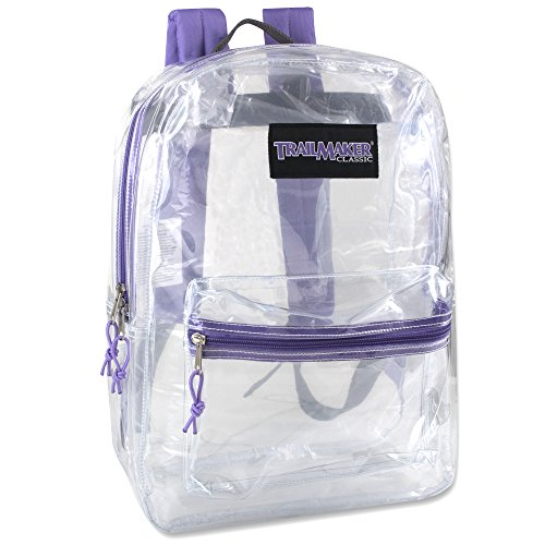 Clear Backpack With Reinforced Straps For Security & Sporting Events (Purple)