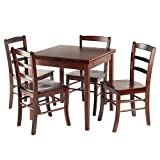 Winsome Wood 94535 Pulman 5-Piece Set Extension Table with Ladder Back Chairs