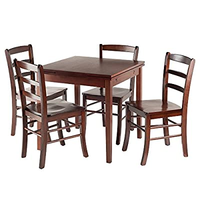 "Winsome Wood Pulman 5 Piece Set Extension Table with Ladder Back Chairs - Overall extended size is 48""W x 29.9""D x 29.2""H. Compact size is 29.9""W x 29.9""D x 29.2""H Made of solid wood in Walnut Finish Comes with 4 ladder back chairs. Assembly required - kitchen-dining-room-furniture, kitchen-dining-room, dining-sets - 51NKAyrtGxL. SS400  -"