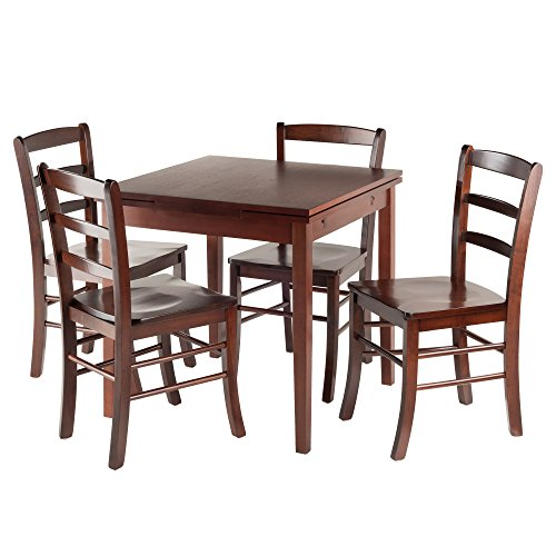 (Winsome Wood Pulman 5 Piece Set Extension Table with Ladder Back Chairs )