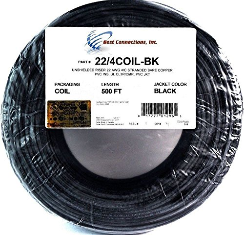 (22 Ga 4 Conductor UL STRANDED COPPER BLACK 500 FT Security Alarm Wire)