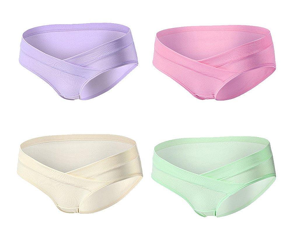 Monvecle Women's 4 Pack V-Shape Lowrise Waistband Under Bump Cotton Maternity Panties