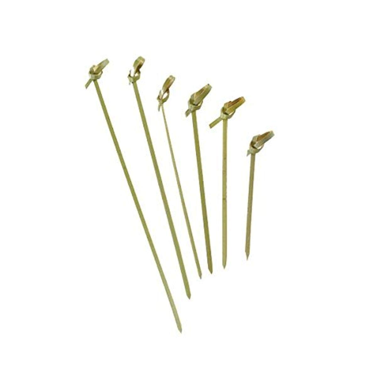 Bamboo Knot Pick Looped Skewer (Case of 100), PacknWood - Biodegradable Wood Sticks for Appetizers, Drinks (4.7