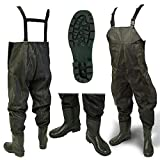 DNA NEW 100% Waterproof Lightweight Green PVC Carp Coarse Fly Fishing Chest Waders with Elasticated Quick Release Buckle Suspenders and High Grip Boots/Wellies in (Size 42)