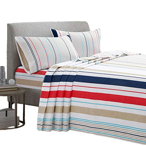 ARTALL Brushed Microfiber Bed Sheet Set 3-Piece 1800 Bedding - Twin, Colorful Stripe(Red, Blue, (Red Stripe Pillowcase Set)