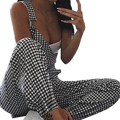 4Clovers Womens Baggy Bib Sleeveless Straps Backless Casual Plaid Culotte Jumpsuit Overalls