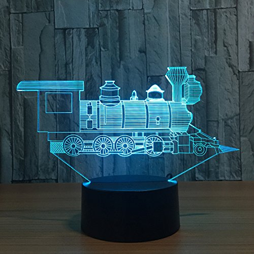 3D Night Light,Rambling 3D Heart/Horse/Train/Lotus illusion Visual Night Light 7 Colors Change USB Desk Lamp Bedroom Home Decor - Kids Train Bank