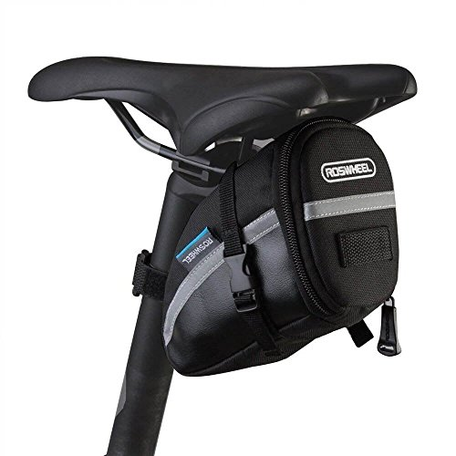 CestMall 1.2L Bicycle & MTB Cycling PU Saddle Bag, Waterproof Bike Bag Back Seat Pouch, Bicycle Repair Tools Pocket Pack with Reflective Stripes (New Black)