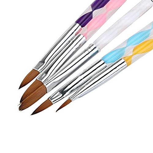 NiceWave 5pcs Acrylic Nail Art UV Gel Carving Pen Brush Liquid Powder DIY No. 4/6/8/10/12 (B)