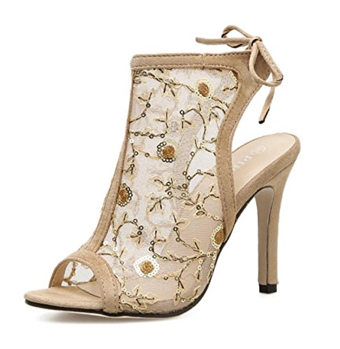 Abierto Summer Linyi Mujer Zapatos 2018 Tacón De Apricot Mesh Sandalias Carved Iwq4zZw