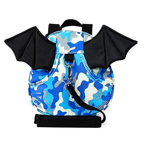 E'Plaza New Bat Walking Safety Harness Reins Toddler Strap Bag Red for Kids Children (blue camouflage)