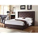 Home Life Premiere Classics Cloth Brown Linen 51 Tall Headboard Platform Bed with Slats King - Complete Bed 5 Year Warranty Included 007