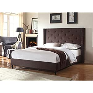 Home Life Premiere Classics Cloth Brown Linen 51″ Tall Headboard Platform Bed with Slats – Complete Bed 5 Year Warranty Included 007
