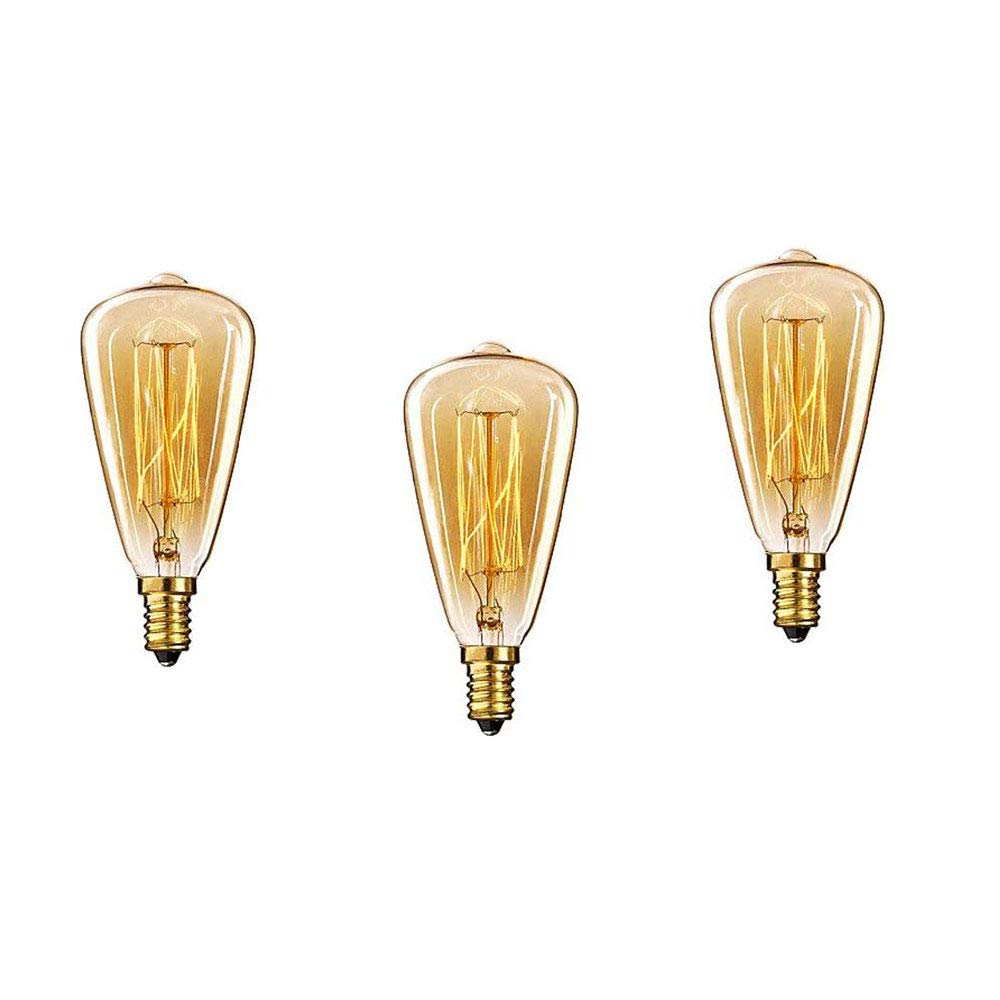 Lote de 3 bombillas retro de iluminació n regulable, con rosca Edison E14, de filamentos, ST48, E14 40.0W 220.0V INT