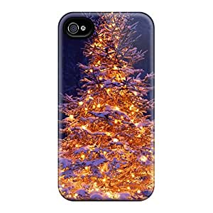 High Grade STWanke Flexible Tpu Case For Iphone 4/4s - Lit Christmas Tree In Snow