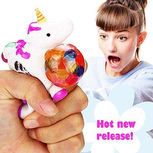 Squishy Unicorn Anti Stress Ball - Squeeze Sensory Stretch Fidget Emoji Toy for Girls Kids Toddlers - Mesh DNA Grape Ball 4 Brain Stimulation Concentration Relief ADHD Autism Theme Party Gag - Pink ()