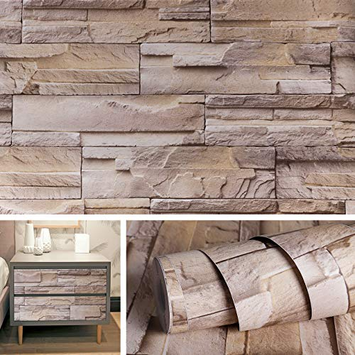 - Livelynine 15.8x197 Inch Removable 3D Stacked Brick Wallpaper Stick and Peel Countertop Contact Paper Decorative Adhesive Vinyl Wall Decals Stone Veneer Faix Brick Wall Panels Stick on Backsplash