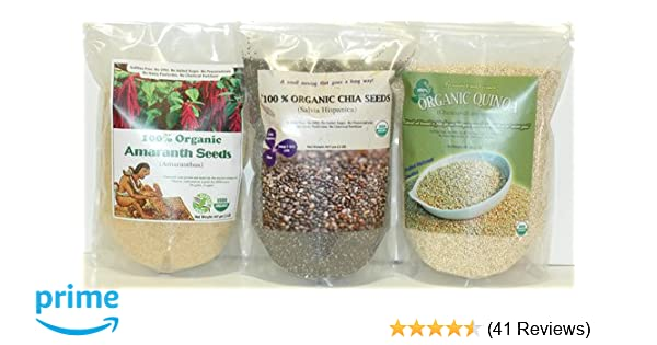 Amazon.com : Indus Organics Amaranth, Chia, Quinoa Combo Pack, (3 Bags of 2 Lb), 99% Purity, Pre-Washed, Premium Quality, Non-gmo, Freshly Packed : Grocery ...