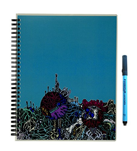 "Scrubby Reusable Whiteboard Notebook — blank 8"" x 10"" — Alien Landscape Cover"