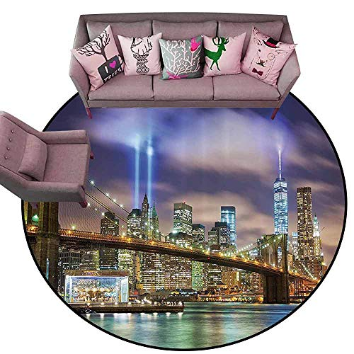Kitchen Mat Apartment Decor,Manhattan Skyline with Brooklyn Bridge and The Towers of Lights in New York City,Puple Green Diameter 78