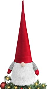 Ivenf 32 Inches Handmade Tomte Gnome Christmas Mantel Table Decorations, Extra Large Plush Swedish Scandinavian Santa for Xmas New Year Winter Holiday Home Decor, Red