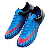 T&B Indoor Soccer Cleats Shoes Lightweight TF Football Boots Men Youth 32726-Lan-3.5US/21.9cm