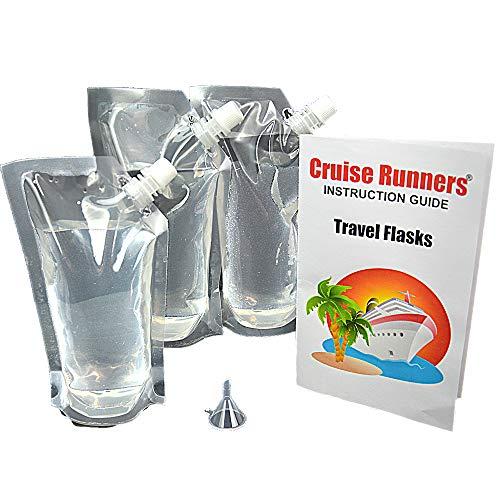 CRUISE RUNNERS Cruise Ship Flask Kit Sneak Alcohol Rum Runner Liquor Sneak Smuggle Booze Plastic Pouch Bags (3x32oz. + Travel - Non Alcohol Vodka