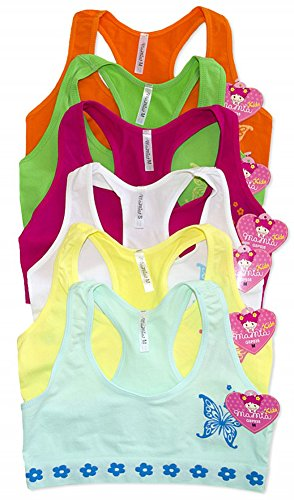 ToBeInStyle Girls' Pack of 6 Butterfly and Daisies Bras