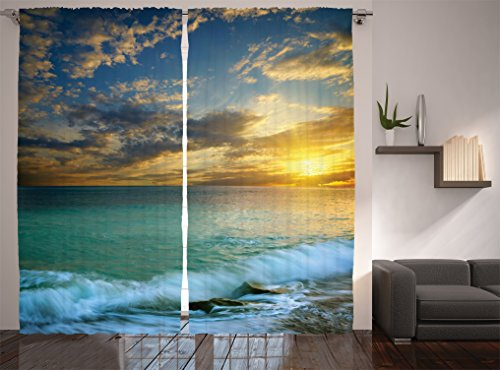 Ocean Decor Curtains by Ambesonne, Transverse Seascape of Sunset and a Rocky Coast of Crimea with Waves Picture, Window Drapes 2 Panel Set for Living Room Bedroom, 108 X 90 Inches, Blue Teal and White