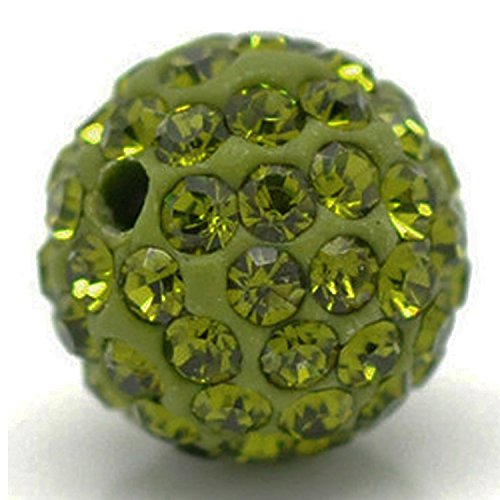 RUBYCA Pave Czech Crystal Disco Ball Clay Beads fit Shamballa Jewelry (20pcs, 10mm, Olivine Green) Olivine Crystal Necklace