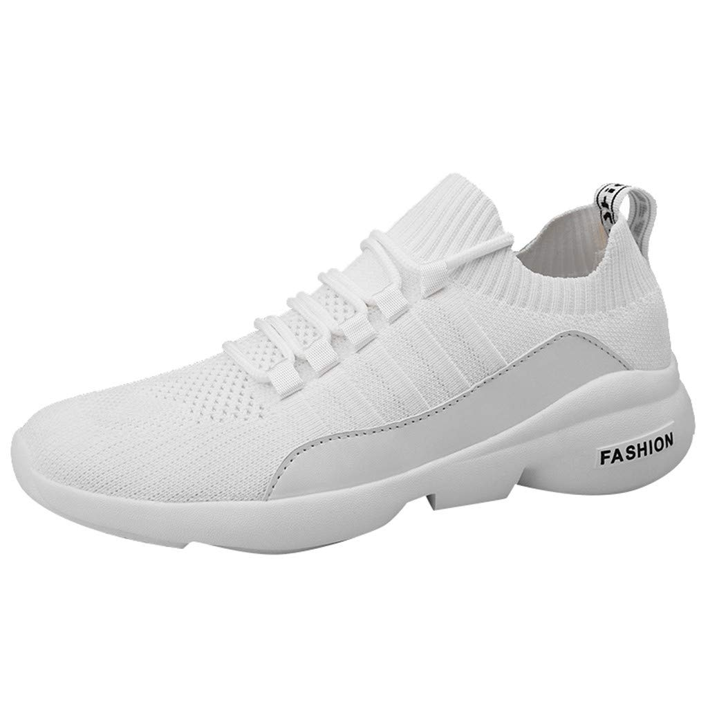 Kauneus Sock Shoes Sneakers Mens Lightweight Stretchy Outdoor Sport Shoes Boys Breathable Comfy Jogging Running Shoes White by Kauneus Fashion Shoes
