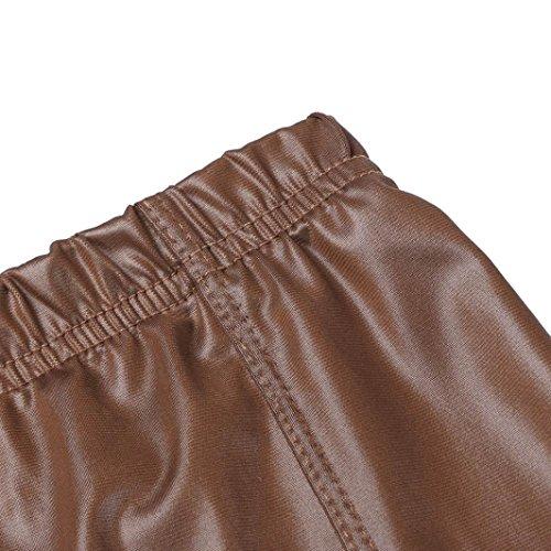 Marron Patchwork Skinny Femmes Extensibles Haute Leggings en Mme Pantalons DContractS Cuir Leggings Taille De OHQ Pantalons Unie Couleur qTwZ7WBv