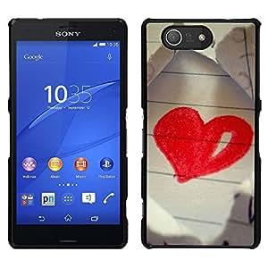 LECELL--Funda protectora / Cubierta / Piel For Sony Xperia Z3 Compact -- Amor Dibujo Corazón --