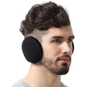 Tough Headwear Ear Muffs for Men & Women – Winter Ear Warmers/Covers for Cold Weather – Behind The Head Style Black Fleece Earmuffs
