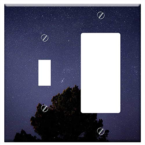 CI Combination Wall Plate Cover - Stars Night Sky Space Dark Blue Astronomy Gal ()