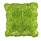 Clearance!Woaills Fashion Floral Decorative Satin Pillow Cover Throw Cushion Case (Green)