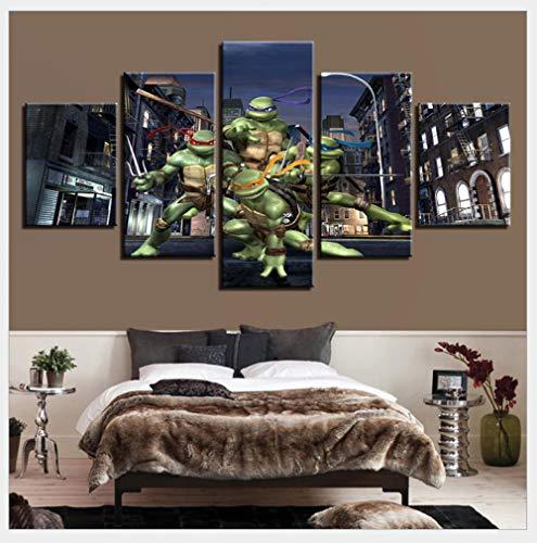 Aizhyen Canvas Oil Painting DIY Wall Art Wulian Painting - Home Decoration Print Decorative Pictures - Teenage Mutant Ninja Turtles-Frameless -