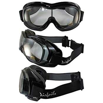 Pacific Coast Sunglasses Airfoil 9311 Day2Nite Fitover Goggles Gloss Black Frame Smoke to Clear One-Piece Lens