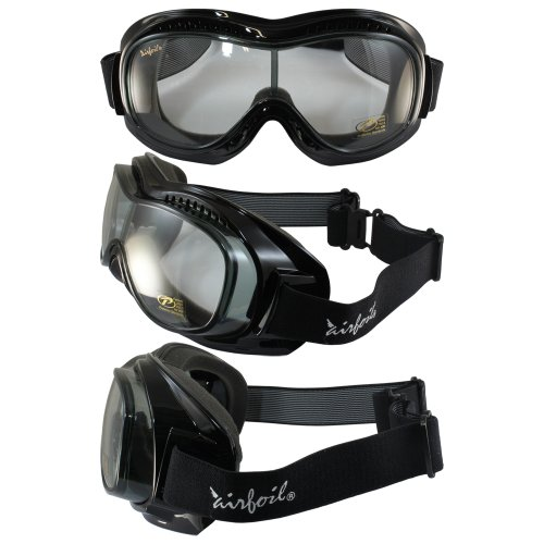 Pacific Coast Sunglasses Airfoil 9311 Day2Nite Fitover Goggles Gloss Black Frame Smoke to Clear One-Piece - Airfoil Sunglasses