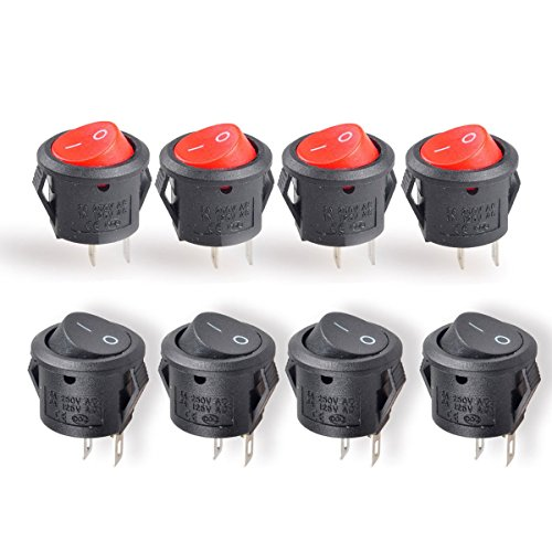 Conwork 20pcs SPST Type Round Switch, 2 Pin 2 Position ON/OFF Boat Rocker Switch 6A/125V 3A/250V AC for Truck Boat