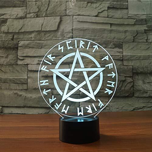 HIOJDWA Night Light 3D Led Satanic Star Symbols Night Light 7 Colors Changing Star of David Table Lamp Creative Gifts Bedroom Decor