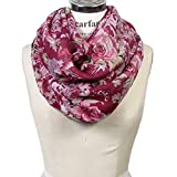 Scarfand's Floral Print Infinity Scarf Wraps Collection (Bouquet Rose Plum)