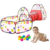 KINDEN Kids Play Tunnel Tent with Ball Pit, Children's Play Tents Playhouse for Baby Indoor Outdoor Playground