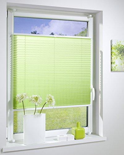 DecoProfi PLISSEE grün, verspannt, Breite 85cm x 130cm (max. Gesamthöhe Fensterflügel), mit Klemmträger / Klemmfix / ohne Bohren
