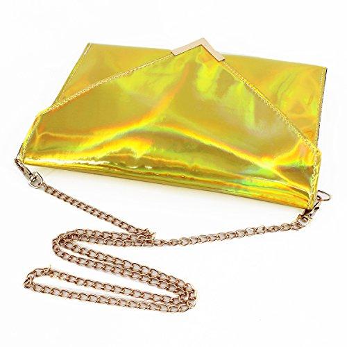 Fashion Shoulder Handbag Gold Clutch Holographic Tote Bag Chain Bag Envelope Crossbody Purse Women Sherry UgRfxng