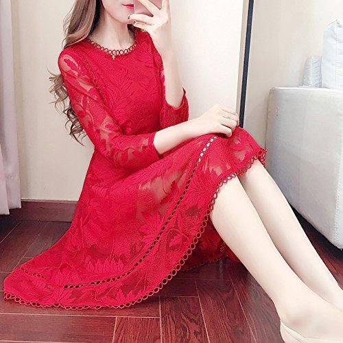 Rojo 2Xl Un De ZHUDJ Venta Traje Siete Vestido Encaje A Tipo Primavera Días Chica Novia Hembra L Una Rojo Gasa La Falda 6wdZwX