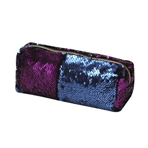 Mysky Women Bags, Double Color Sequins Glitter Handbag Cosmetic Bag Makeup Bag (Purple) from My*sky Bags