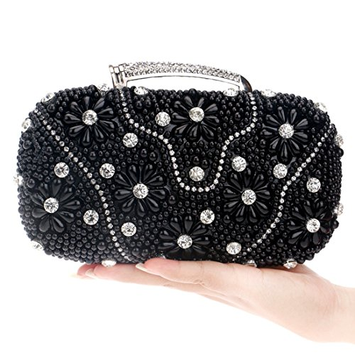 Evening frizione Black da donna perline e sera da pochette bag Borsa con con rT4zrOq