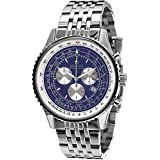 Louis XVI Men's-Watch Artagnan l'acier l'argent bleu Swiss Made Chronograph Analog Quartz Stainless Steel Silver 581